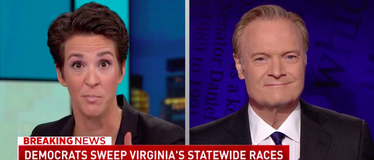 Screen Shot Rachel Maddow and Lawrence O'Donnell (MSNBC: Nov 8, 2017)