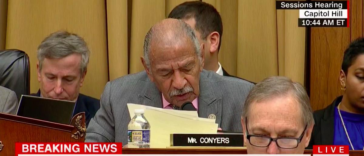 Screen Shot Conyers Reads Trump's Tweets (CNN: Nov 14, 2017)