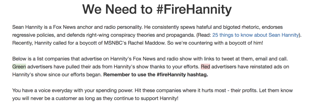 Screenshot/FireHannity.org