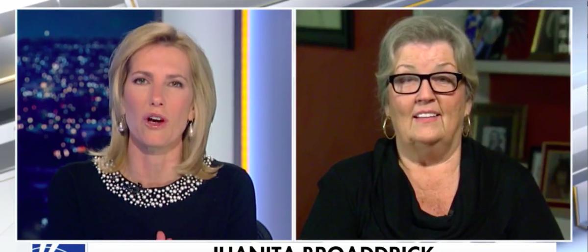 Screen Shot Juanita Broaddrick (Fox News: Nov 14, 2017)