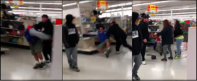 Man Lands On Shelving Unit In Epic Kmart Fight [VIDEO]