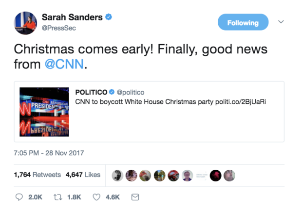 CNN to boycott White House Christmas party