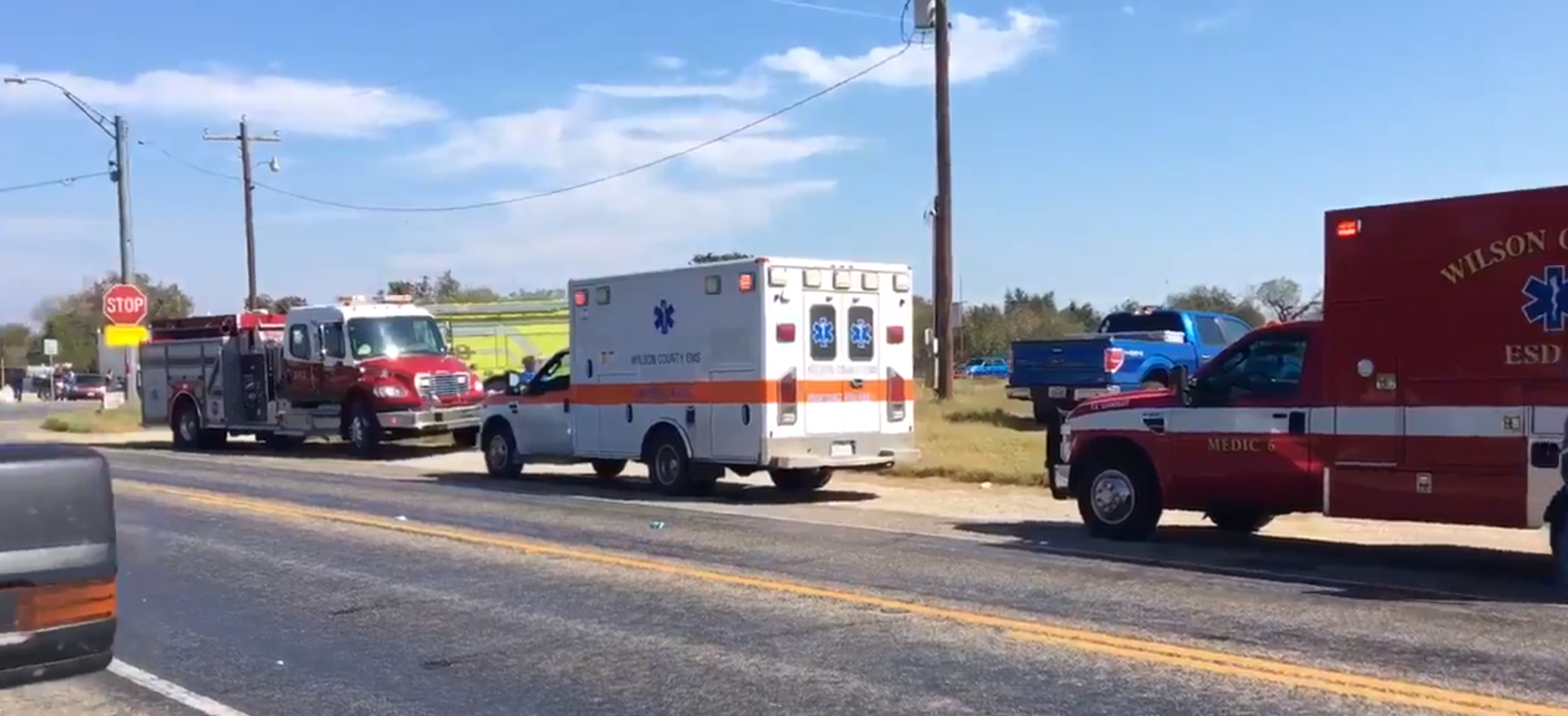 Emergency vehicles lined up outside the First Baptist Church in Sutherland Springs, Tex.  (PHOTO: Screenshot via Twitter/Max Massey/KSAT)