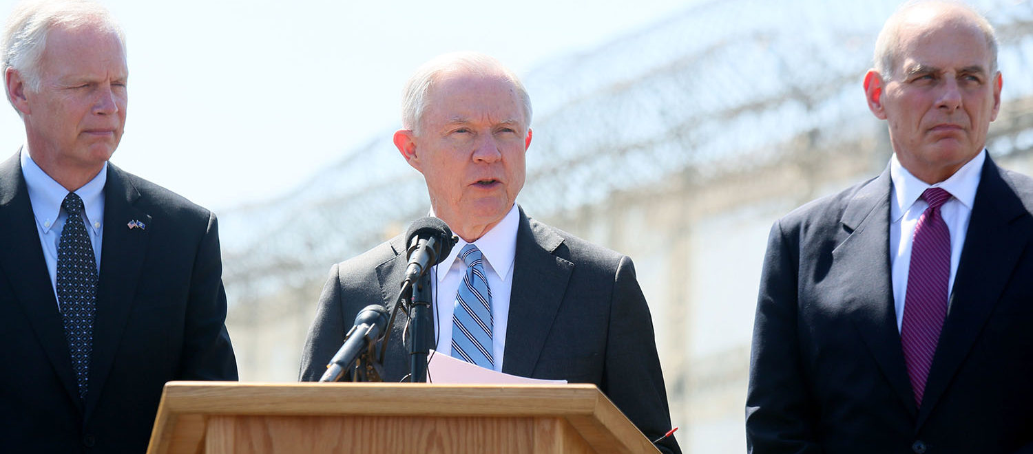 Department of Homeland Security John Kelly and Attorney General Jeff Session speak to the media during a tour of the border and immigrant detention operations at Brown Field Station on April 21, 2017 in Otay Mesa, California. Secretary Kelly and Attorney General Sessions are on the second leg of a tour together this week after visiting El Paso and were joined by U.S. Senator Ron Johnson, Chairman of the Senate Committee on Homeland Security and Governmental Affairs.(Photo by Sandy Huffaker/Getty Images)