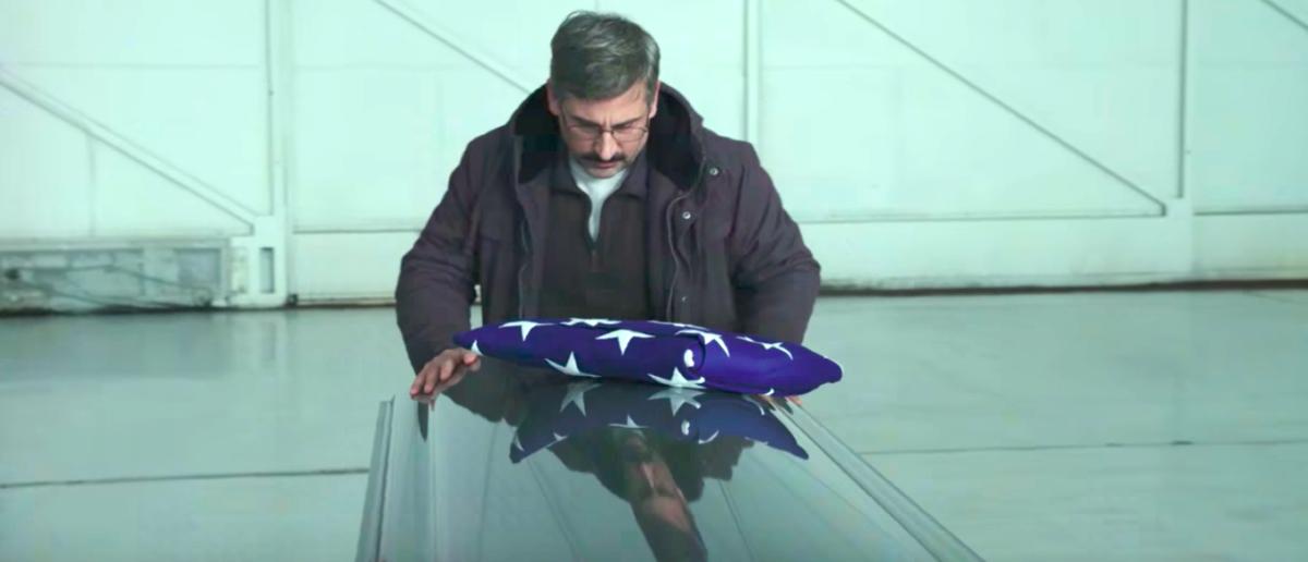 """Steve Carell stars alongside Bryan Cranston, Laurence Fishburne in director Richard Linklater's new film """"Last Flag Flying."""" (YouTube screenshot/Lionsgate/Amazon Studios)"""