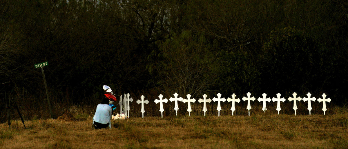 Crosses are placed near a vigil in the memory of those killed in the shooting at the First Baptist Church of Sutherland, Texas, U.S., November 6, 2017. (Photo: REUTERS/Rick Wilking)