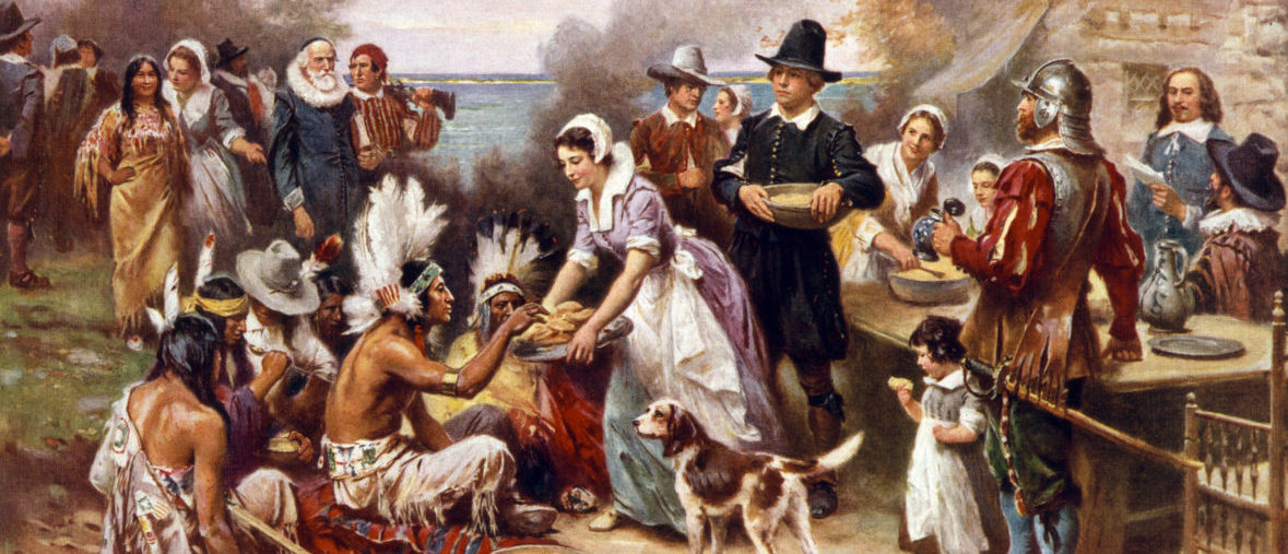Thanksgiving at Plymouth (shutterstock/Everett Historical)