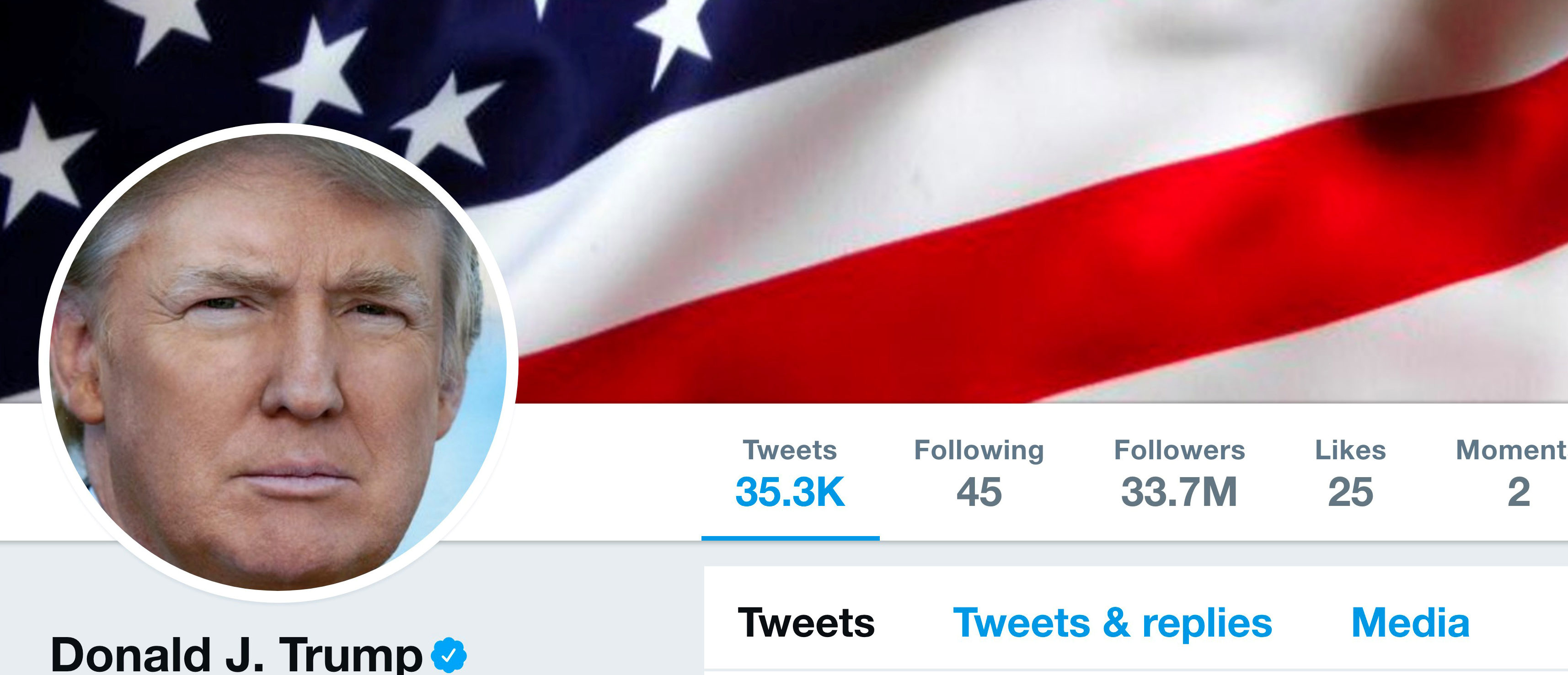 The masthead of U.S. President Donald Trump's @realDonaldTrump Twitter account is seen on July 11, 2017.  @realDonaldTrump/Handout via REUTERS    ATTENTION EDITORS - THIS IMAGE WAS PROVIDED BY A THIRD PARTY - RC110AFE5290