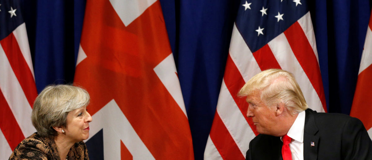 U.S. President Donald Trump meets with British Prime Minister Theresa May during the U.N. General Assembly in New York, U.S., September 20, 2017. REUTERS/Kevin Lamarque