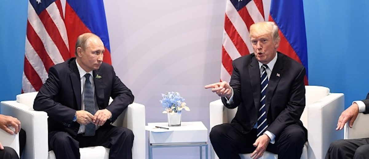 US President Donald Trump and Russia's President Vladimir Putin hold a meeting on the sidelines of the G20 Summit in Hamburg, Germany, on July 7, 2017. (Photo: SAUL LOEB/AFP/Getty Images)