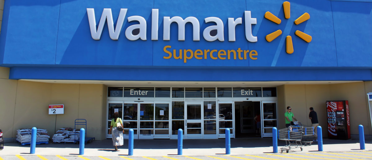 ETOBICOKE, CANADA - JULY 24: Walmart Supercentre entrance on July 24, 2013 in Etobicoke, Ontario, Canada. Walmart is the world's third largest public corporation that runs chains of department stores. (Photo: Niloo/Shutterstock)