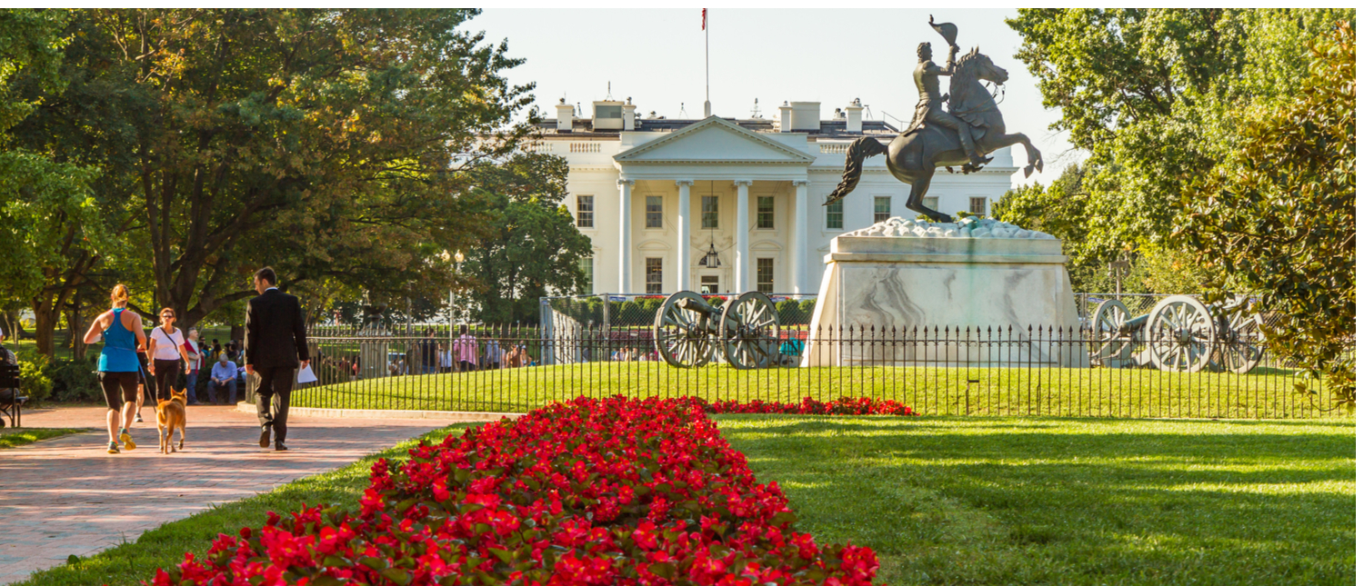 White House with Andrew Jackson statue in foreground, and red flowers on left side of frame leading viewer to statue. (Photo: Shutterstock/Patrick Civello)