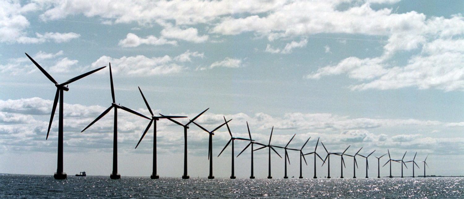 The world's largest offshore wind farm, Middelgrunden Windmill Farm, located in the Oeresund, three km from Copenhagen harbour. French companies EDF and Alstom secured the tender to install hundreds of offshore wind turbines along the french coast, on April 6, 2012. (Photo: SOEREN BIDSTRUP/AFP/Getty Images)