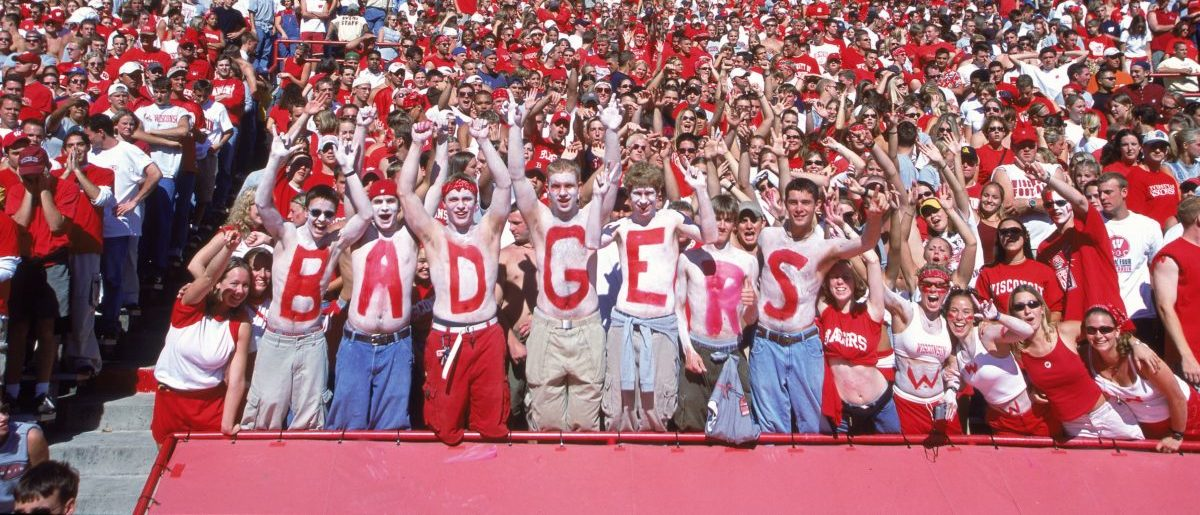 16 Sep 2000: A general view of some crazy fans of the Wisconsin Badgers during the game against the Cincinnati Bearcats at the Camp Randall Stadium in Madison, Wisconsin. The Badgers defeated the Bearcats 28-25.(Mandatory Credit: Tom Hauck /Allsport/Getty Images)