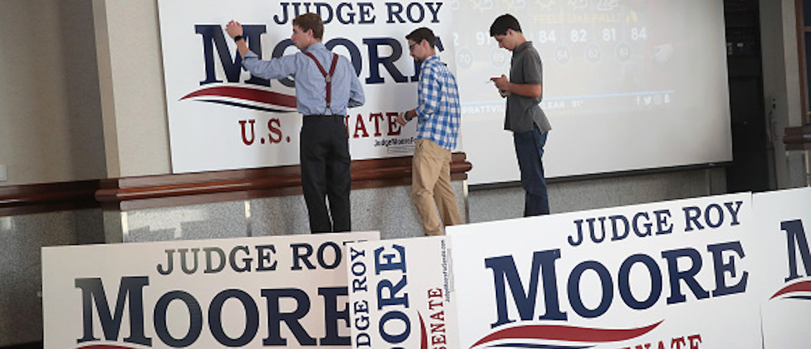 MONTGOMERY, AL - SEPTEMBER 26:  Workers prepare the stage for an election-night rally with Republican candidate for the U.S. Senate in Alabama, Roy Moore, on September 26, 2017 in Montgomery, Alabama. Moore, former chief justice of the Alabama supreme court, is in a primary runoff contest against incumbent Luther Strange for the seat vacated when Jeff Sessions was appointed U.S. Attorney General by President Donald Trump.   (Photo by Scott Olson/Getty Images)