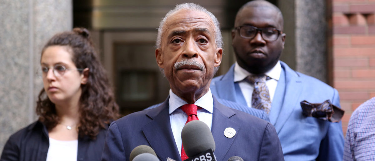 Rev. Al Sharpton speaks at a news conference outside of the ESPN executive to demand the reinstatement by ESPN of Jemele Hill in Manhattan, New York, U.S., October 10, 2017. REUTERS/Bria Webb