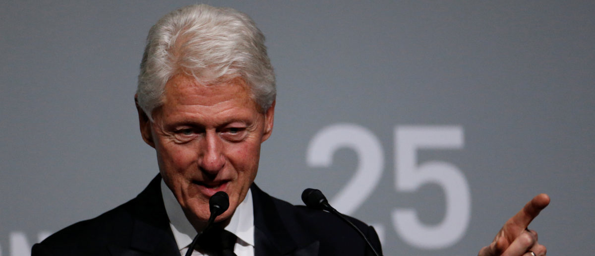 Former President Bill Clinton speaks during the commemoration of the Elton John AIDS Foundation 25th year fall gala at the Cathedral of St. John the Divine in New York City, in New York, U.S. November 7, 2017. REUTERS/Shannon Stapleton