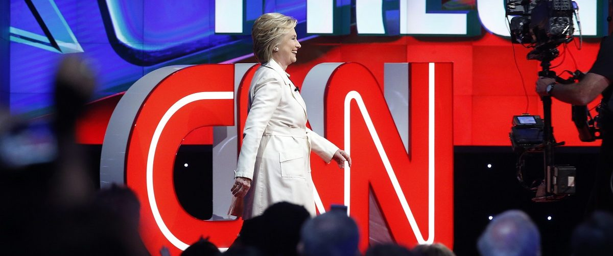 Democratic U.S. presidential candidate Hillary Clinton arrives to attend a Democratic debate hosted by CNN and New York One at the Brooklyn Navy Yard in New York April 14, 2016. REUTERS/Lucas Jackson.