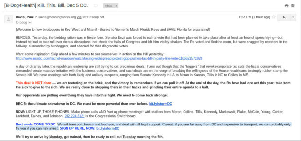 The email from Housing Works organizers promises funding...only if protesters risk arrest