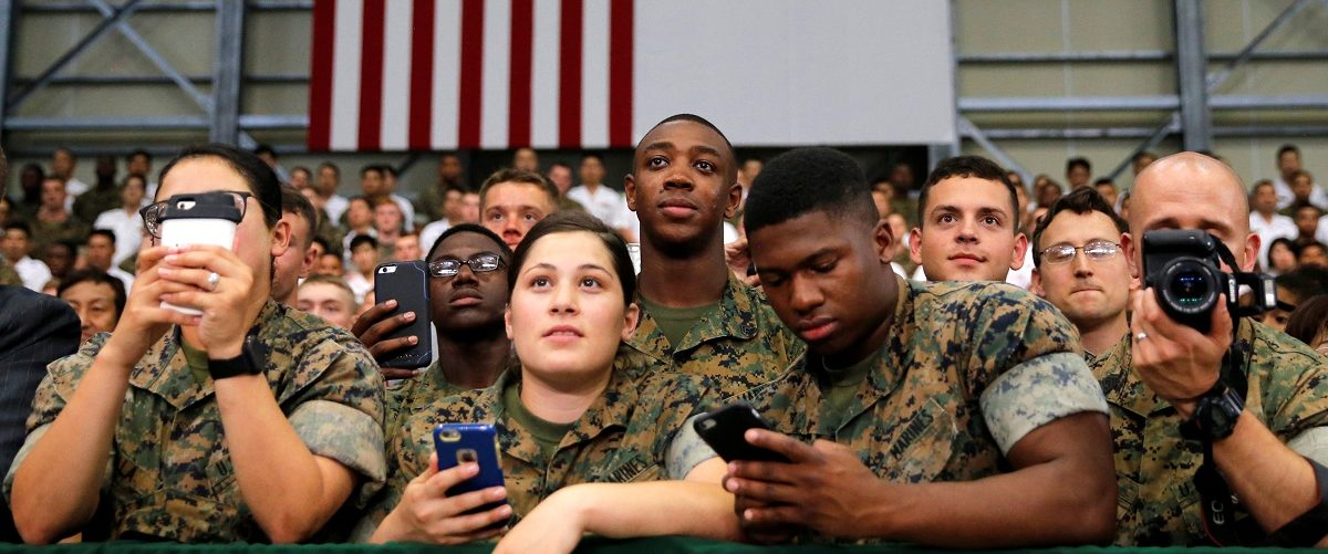 U.S. and Japan Self-Defence Force's soldiers listen a speech by U.S. President Barack Obama during his visits at Iwakuni Marine Corps Air Station, enroute to Hiroshima, Japan