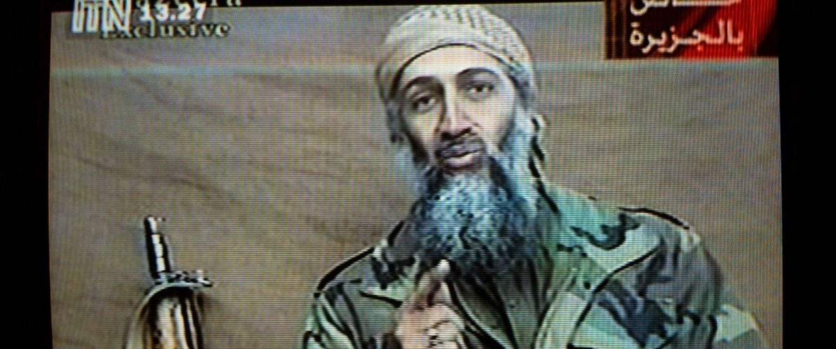 "A videotape released by Al-Jazeera TV featuring Osama Bin Laden is broadcast in Britain December 27, 2001. The tape, estimated to have been recorded two weeks earlier, shows Bin Laden describing the World Trade Center attack as ""commendable,"" calling it ""benevolent terrorism"" designed to raise the issue of Israeli attacks on Palestinians. Getty Images."