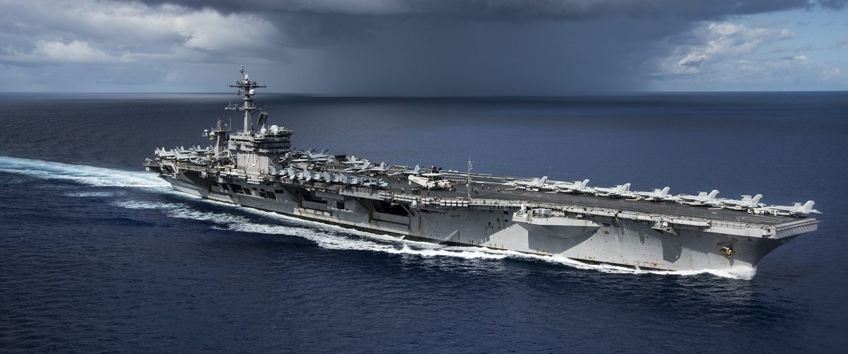 In this photo provided by the U.S. Navy, the USS Carl Vinson transits the Philippine Sea while conducting a bilateral exercise with the Japan Maritime Self-Defense Force on April 23, 2017 in the Philippine Sea. The Carl Vinson Carrier Strike Group is operating as part of U.S. 7th Fleet, but remains deployed under the U.S. 3rd Fleet Forward operating concept, which provides additional options to the Pacific Fleet commander.  U.S. Navy aircraft carrier strike groups have patrolled the Indo-Asia-Pacific regularly and routinely for more than 70 years. USN Mass Communication Specialist 2nd Class Z.A. Landers via Getty Images.
