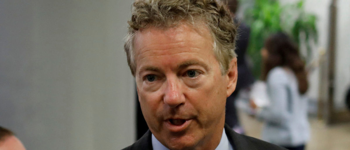 U.S. Senator Rand Paul (R-KY) speaks with reporters about the withdrawn Republican health care bill on Capitol Hill in Washington, U.S. on July 18, 2017. Picture taken on July 18, 2017. REUTERS/Aaron P. Bernstein