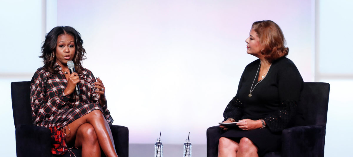 Former First Lady Michelle Obama (L) answers a question from a poet Elizabeth Alexander (R) during the second day of the first Obama Foundation Summit in Chicago, Illinois, U.S. November 1, 2017. (Photo: REUTERS/Kamil Krzaczynski)