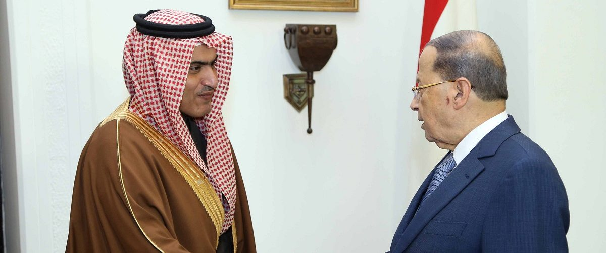 Lebanon's President Michel Aoun meets with Saudi Arabia's Arab Gulf Affairs Minister Thamer al-Sabhan at the presidential palace in Baabda