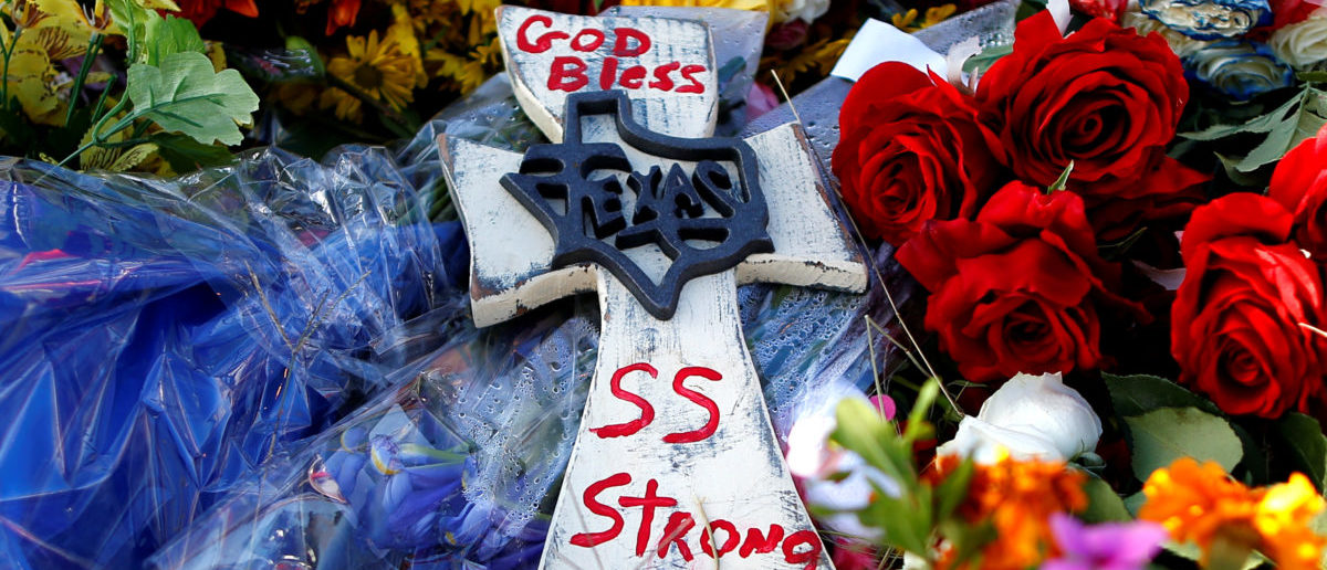 Items are seen left at a memorial near the site of the shooting at the First Baptist Church of Sutherland Springs in Sutherland Springs, Texas, U.S., November 7, 2017. REUTERS/Jonathan Bachman