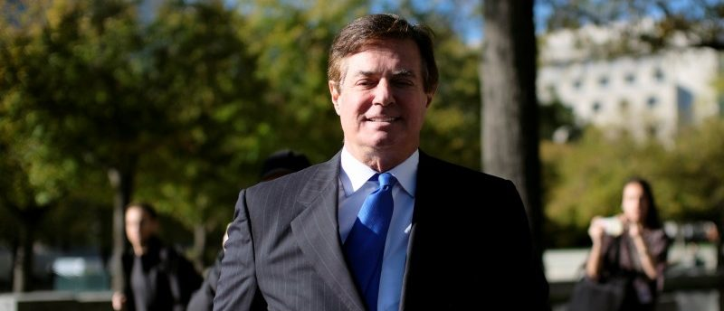 FILE PHOTO - Former Trump 2016 campaign chairman Paul Manafort leaves U.S. Federal Court, after being arraigned on twelve federal charges in the investigation into alleged Russian meddling in the 2016 U.S. presidential election, in Washington, U.S. October 30, 2017. REUTERS/James Lawler Duggan/File Picture