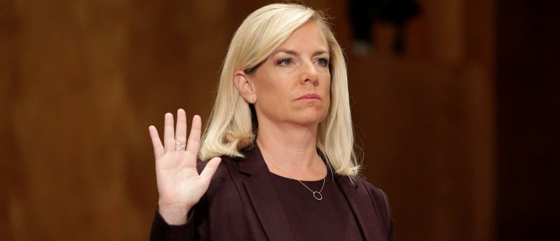 FILE PHOTO: Kirstjen Nielsen is sworn in before testifying to the Senate Homeland Security and Governmental Affairs Committee on her nomination to be secretary of the Department of Homeland Security (DHS) in Washington, U.S. on November 8, 2017. REUTERS/Joshua Roberts/File Photo