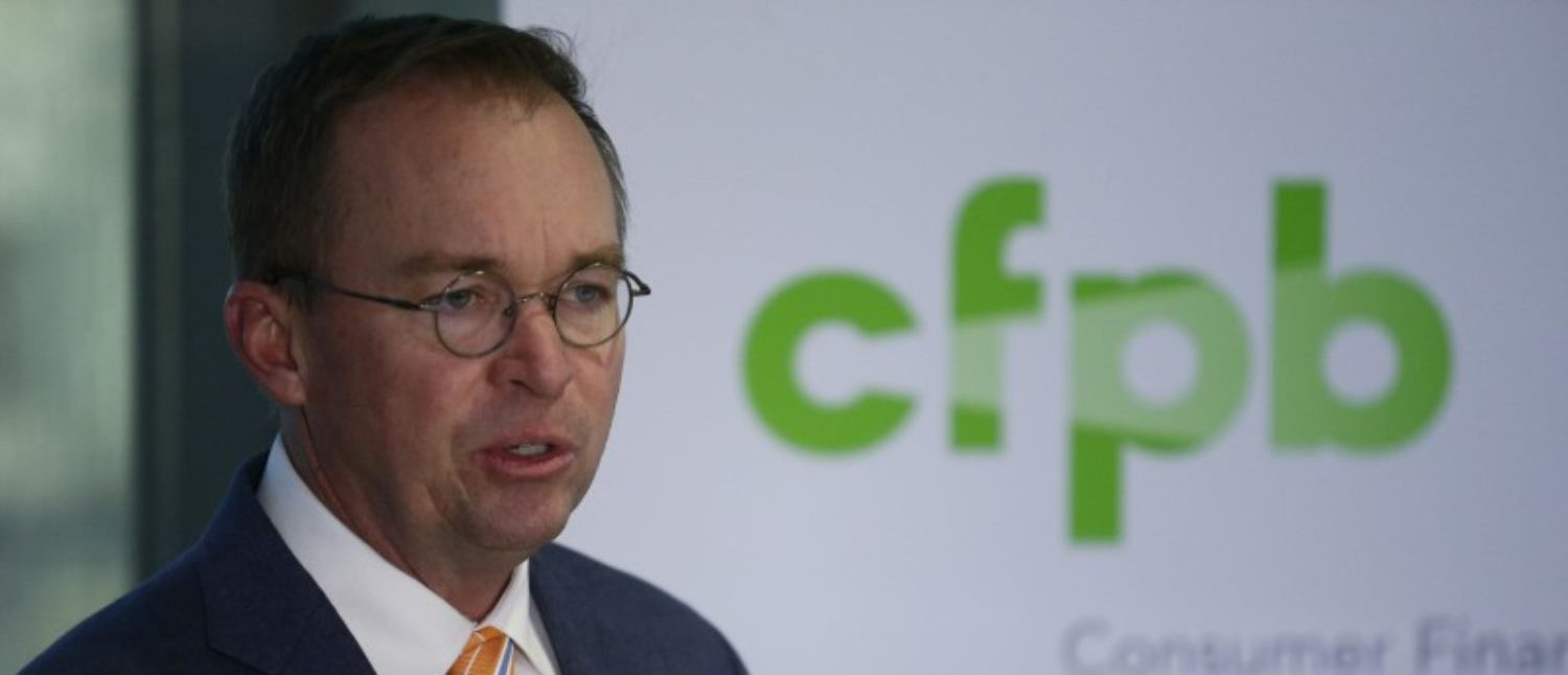 FILE PHOTO - Office of Management and Budget (OMB) Director Mick Mulvaney speaks to the media at the U.S. Consumer Financial Protection Bureau (CFPB), where he began work earlier in the day after being named acting director by U.S. President Donald Trump in Washington November 27, 2017. REUTERS/Joshua Roberts