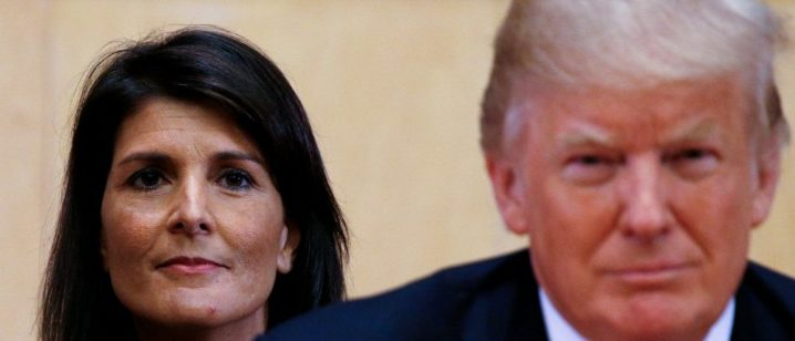 FILE PHOTO: U.S. Ambassador to the UN Nikki Haley and U.S. President Donald Trump participate in a session on reforming the United Nations at UN Headquarters in New York