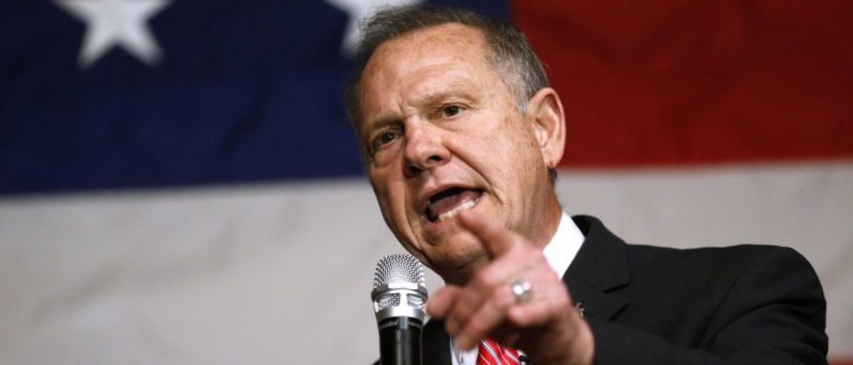 Roy Moore speaks during a campaign event in Fairhope, Alabama. REUTERS/Jonathan Bachman