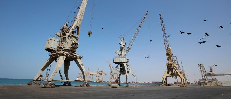 A view of cranes, damaged by air strikes, at the container terminal of the Red Sea port of Hodeidah, Yemen November 30, 2017. REUTERS/Abduljabbar Zeyad