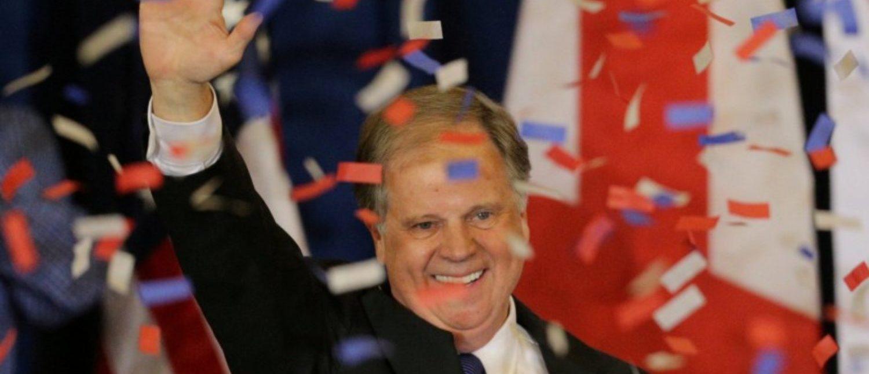 Democratic Alabama U.S. Senate candidate Doug Jones acknowledges supporters at the election night party in Birmingham, Alabama, U.S., Dec. 12, 2017. REUTERS/Marvin Gentry/File Photo