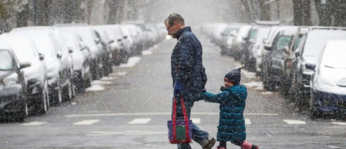 A man walks with a little girl as the snow falls in Central Park during a pre-winter storm in New York City, U.S., December 9, 2017. REUTERS/Brendan McDermid