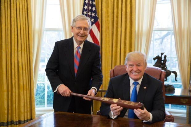 McConnell gives Trump gift to celebrate tax win