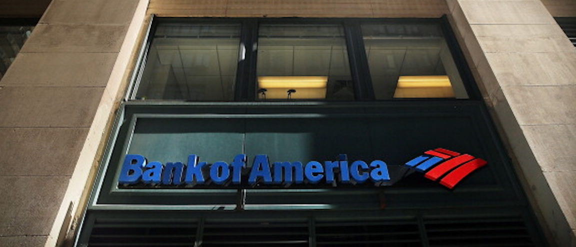 NEW YORK, NY - APRIL 16: A sign for a Bank of America branch is viewed on April 16, 2014 in New York City. As the nation's second-largest bank continues to struggle with fallout from the financial crisis, Bank of America reported a $276 million first-quarter loss Wednesday. (Photo by Spencer Platt/Getty Images)