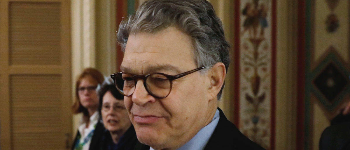 U.S. Senator Al Franken (D-MN) arrives at the U.S. Senate to announce his resignation over allegatons of sexual misconduct on Capitol Hill in Washington, U.S. December 7, 2017. REUTERS/Aaron P. Bernstein