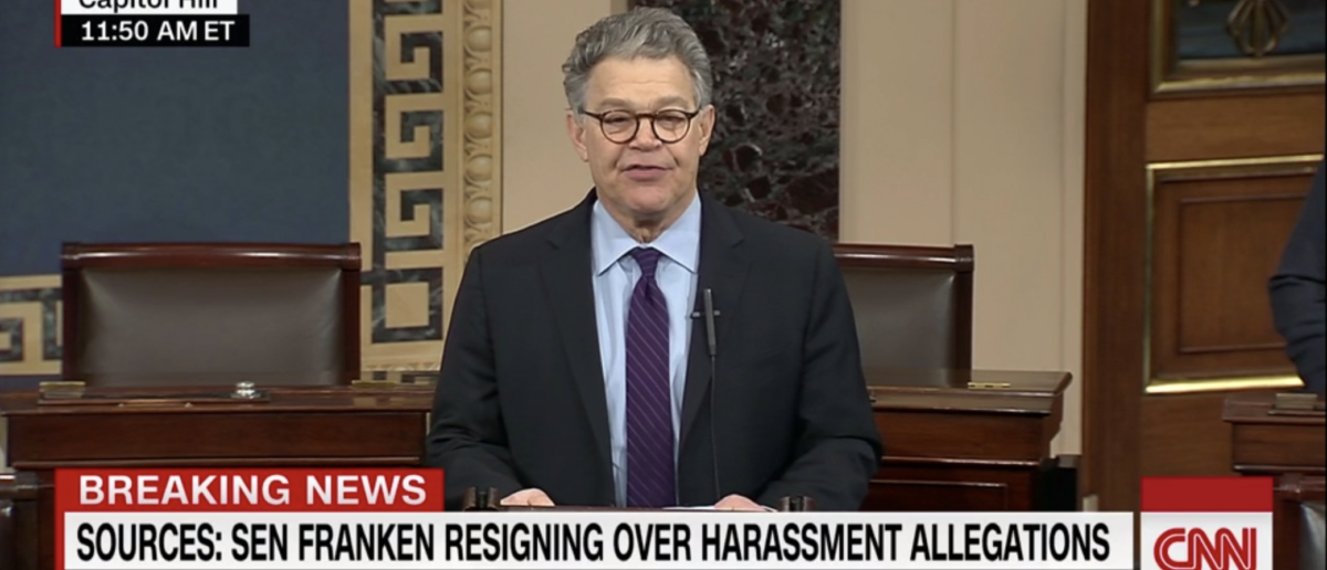 Al Franken announces his resignation from the Senate with a list of excuses. [Screenshot/CNN]