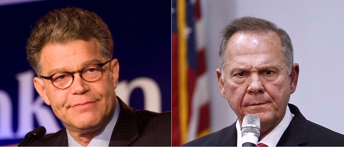 Al Franken and Roy Moore Getty Images/Cory Ryan, Getty Images/Jonathan Bachman