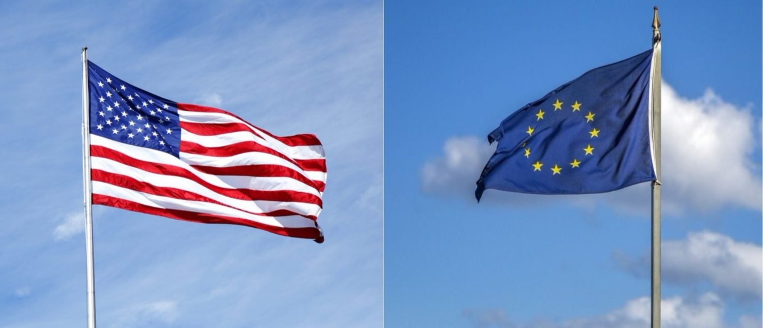 Left: The American flag [Shutterstock - Leonard Zhukovsky] Right: The European Union flag [Shutterstock - Goran Bogicevic]