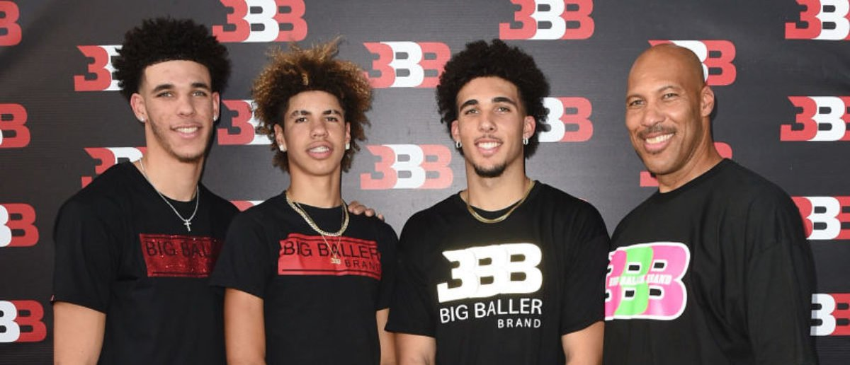 (L-R) Lonzo Ball, LaMelo Ball, LiAngelo Ball and LaVar Ball attend Melo Ball's 16th Birthday on September 2, 2017 in Chino, California. (Photo by Joshua Blanchard/Getty Images for Crosswalk Productions )