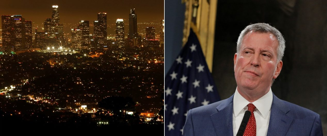 The Los Angeles skyline and New York City Mayor Bill de Blasio (Photos: Reuters)