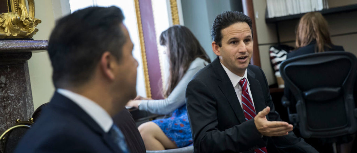 WASHINGTON, DC - OCTOBER 24: (L to R) Rep. Ben Ray Lujan (D-NM) looks on as Sen. Brian Schatz (D-HI) speaks with reporters about health care on Capitol Hill, October 24, 2017 in Washington, DC. (Photo by Drew Angerer/Getty Images)