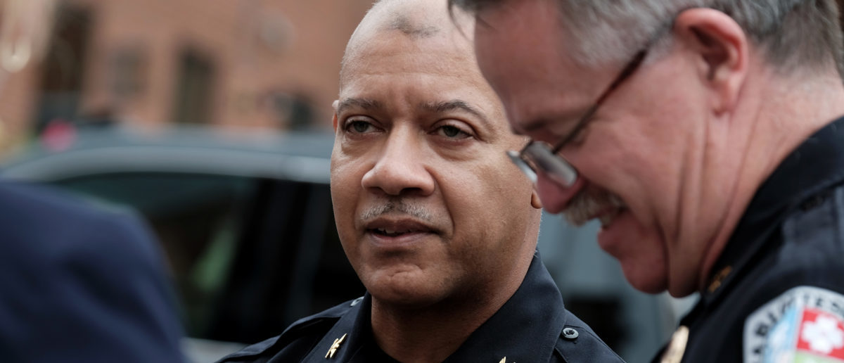 "Charlottesville Police Chief Al Thomas (C) speaks to people outside the Charlottesville police headquarters as the city continues to deal with the repercussions of violence that erupted at the white nationalist ""Unite the Right"" rally in Charlottesville, Virginia, August 14, 2017. REUTERS/Justin Ide"