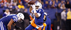 INDIANAPOLIS, IN - DECEMBER 14: Jacoby Brissett #7 of the Indianapolis Colts tries to throw a pass as he is tackled by Von Miller #58 of the Denver Broncos during the second half at Lucas Oil Stadium on December 14, 2017 in Indianapolis, Indiana. (Photo by Andy Lyons/Getty Images)