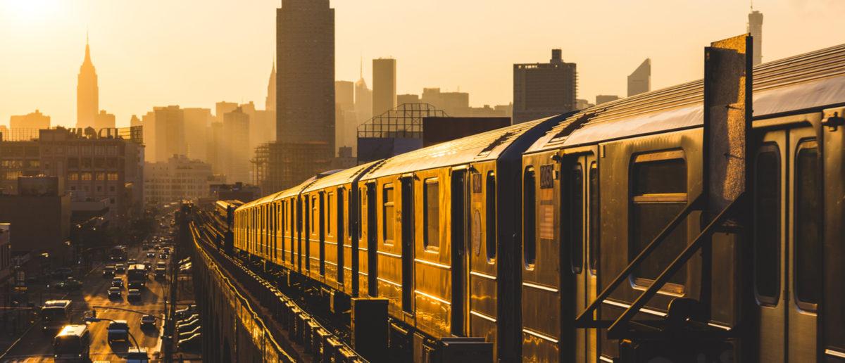 Subway Train in New York at Sunset Shutterstock/ William Perugini